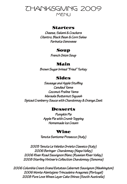 Our Menu for Thanksgiving