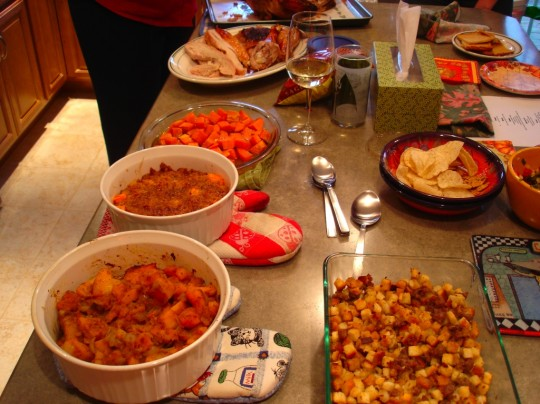 All the food for Thanksgiving dinner